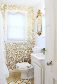 DIY Gold Glam Bathroom Makeover | Classy Clutter (the wallpaper was made with vinyl!)