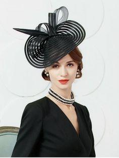 52ace972e49 Elegant British Stylish Big Knot Tea Party Hat Black Fascinator