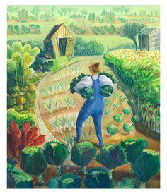 Allotment Cabbages gardener in the vegetable by JennyBeckartist