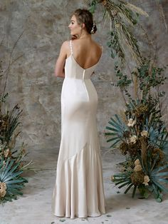 Soft satin slip gown with delicate lace shoe string straps Charlotte Balbier, Bridal Separates, Ethereal Beauty, Satin Slip, Wedding Gowns, Delicate, Shoe, Formal Dresses, Collection