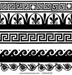 Find Greek Border Ornaments Meanders stock images in HD and millions of other royalty-free stock photos, illustrations and vectors in the Shutterstock collection. Leg Tattoo Men, Arm Band Tattoo, Greek Drawing, Wave Drawing, Greek Pattern, Doodle Borders, Byzantine Icons, Ex Machina, Greek Art