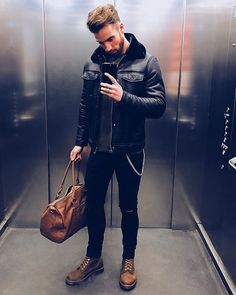 Style by @chezrust  Via @gentwithstreetstyle  Yes or no?  Follow @mensfashion_guide for dope fashion posts!  #mensguides #mensfashion_guide #FashionJacketsForMen