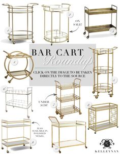 Summer Beverage Station Tray Table and a Bar Cart Roundup - Favorite Gold and Brass Bar Carts - All sources provided