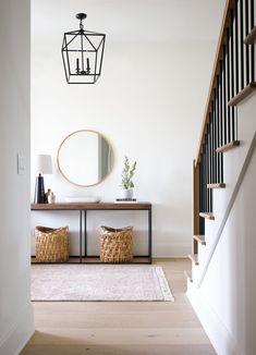 Plankandpillow.com for more!  #LightingDesign #lighting #hallway #homedecor #homeimprovement #interiordesign #midcenturymodern #mixedmetals #foyerlight #entryway