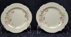 """Homer Laughlin Virginia Rose FLUFFY ROSE Bread Plates 6 1/4"""" TWO Plate NICE! #HomerLaughlin"""