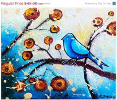 Blue Bird Painting  Bird Art  Whimsical Art  Wall by hjmArtGallery, $35.70