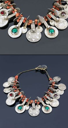 Southern Morocco | Necklace; Coral, various coins, glass cabochons. Coins date from 1299H /1881 to 1329H /1911 | Sold ~ (May '15)