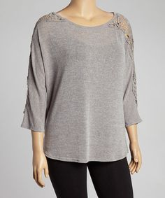 Another great find on #zulily! Slate Crochet Three-Quarter Sleeve Top - Plus #zulilyfinds