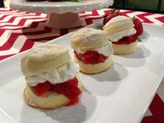 A sweet take on the slider sensation! Mini shortcakes stacked with fresh strawberries and whipped cream.