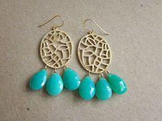 Chrysoprase Chandelier Earrings  www.celestelaurendesigns.etsy.com