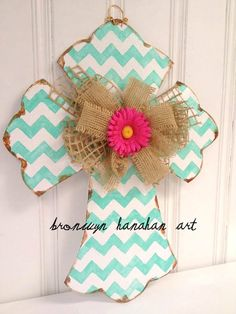 AQUA Chevron Cross  Bronwyn Hanahan Art by BronwynHanahanArt, $50.00