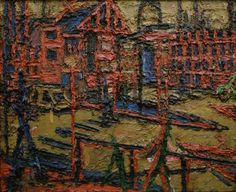 Frank Auerbach Behind Camden Town Station, Summer Evening 1966 Oil on board 44 3/8 x 55 inches