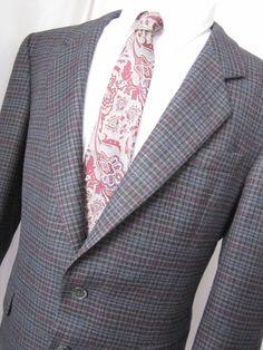 Jacket 42 Short Elks Wool blend Overcheck Tweed 2 Button Gray Blazer Mens Coat Grey Blazer Mens, Elks, Ebay Auction, Wool Blend, Tweed, Online Price, Raincoat, Suit Jacket, Leather Jacket