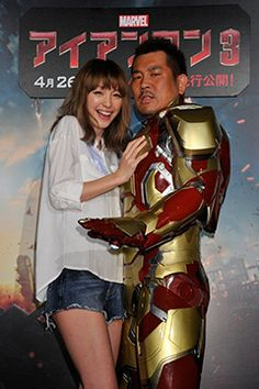 藤本敏史&木下優樹菜、初の2ショットで登場!『アイアンマン3』日本最速鑑賞に大興奮