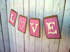 "Items similar to Paper Banner, Paper Garland, Party Flag ""Love"" Decoration on Etsy Valentine Day Love, Valentine Photos, Valentine Ideas, Paper Banners, Flag Banners, Party Flags, Custom Wood Signs, Holiday Fun, Party Planning"