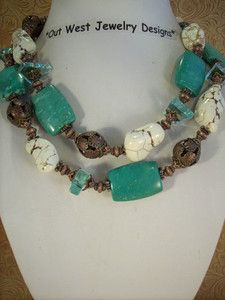 Western Cowgirl Necklace Set - Chunky Teal & White Howlite Turquoise - Copper  Outwest Jewelry Designs