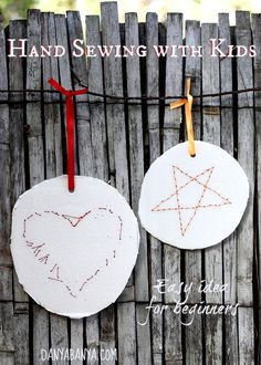 Easy hand-sewn heart and star decorations that make great introductory sewing practice for kids.