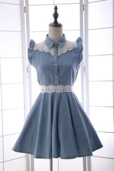 liz Day One 16 new spring and summer soft sister sweet bow buckle lace wood ear boats sleeve denim dress