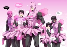 BatFamily ★ PINK★ PINK★ PINK★ PINK★ Dick: Is this our family uniform? Tim: OMG…I feel so embarrassed… Damian: The image of father…