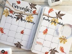 Here's a fabulous monthly spread November for your Canvo Bullet Journal. Our very own Katrina made t Bullet Journal Monthly Spread, Bullet Journal Notebook, Bullet Journal Layout, Bullet Journal Inspiration, Bullet Journal Calendrier, Autumn Bullet Journal, Deco Jungle, Fall Inspiration, Hello November