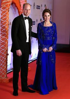 Kate Middleton appeared to channel her inner Bollywood as she donned a stunning royal blue gown complete with a beautiful embellished shawl for a Bollywood Inspired Charity Gala at the Taj Mahal Palace Hotel during the royal visit to India and Bhutan on April 10, 2016 in Mumbai, India.
