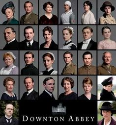 Downton Abbey cast, left to right. First row: Dowager Countess, Lord Grantham, Lady Grantham, Lady Sybil, Lady Mary, Lady Edith.   Second row: Clarkson, Mr. Bates, O'Brian, Anna, William, Daisy.   Third row: Mrs. Patmore, Branson, Ethel, Matthew, Thomas, Dr. Clarkson.   Fourth row: Isabel, Sir Richard Carlisle, Mr. Lang, Mrs. Hughes, Lavinia, Rosamund.   Fifth row: Mr. Molesley, and Mrs. Bates.