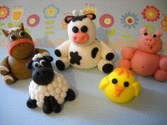 Barn Yard Friends -  Edible Farm Animals Cake Topper Set of 5