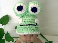 Hand Crochet FROG Baby Hat  6 to 12 month olds by ReadyMade4U on Etsy, $28.00