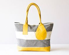 Tote bag stripe shoulder purse in cotton canvas and von milloo