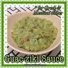 Guac-ziki sauce: A combination of guacamole and tzatziki sauce for a new, awesome taste! You'll say Ole! A very versatile sauce for use with both Mexican and Mediterranean dishes. (Paleo, gluten-free, dairy-free) By Jenny at www. Best Low Carb Recipes, Allergy Free Recipes, Real Food Recipes, Gluten Free Recipes, Cooking Recipes, Lamb Burger Recipes, Lamb Gyros, Healthy Snacks, Healthy Recipes
