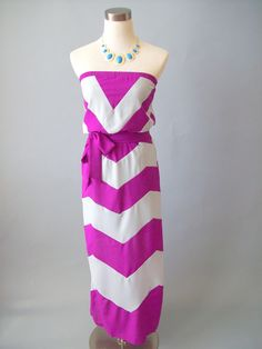 From Every Angle Chevron Maxi Dress-Magenta...love this!