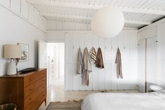 A Serene and Light Vintage Cabin in Topanga Canyon - the Nordroom Master Bedroom Interior, Two Bedroom, Open Space Living, Living Spaces, White Washed Floors, Glass Porch, Palette Wall, Plywood Kitchen, Wooden Facade