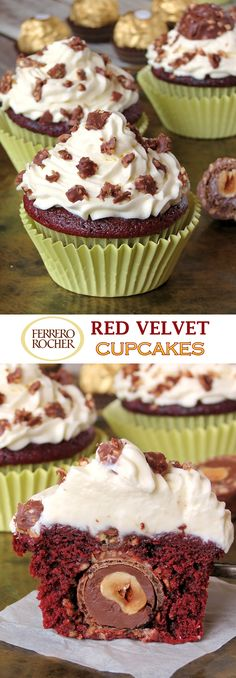 Insanely Delicious Red Velvet Ferrero Rocher Cupcakes With Mascarpone Frosting Yummy Cupcakes, Cupcake Cookies, Cupcake Wars, Cupcake Recipes, Baking Recipes, Baking Ideas, Ferrero Rocher Cupcakes, Cakes And More, Delicious Desserts