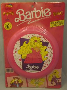Blast from our past! A vintage Barbie Pink Frisbee. With 80's hair. Fun gift for a child of the 80's or young girl.  #SpectraStar #Barbie #Frisbee #BarbieFrisbee #VintageIsCool #PinkPinkPink #Ebay #UnderTheRoofTreasures