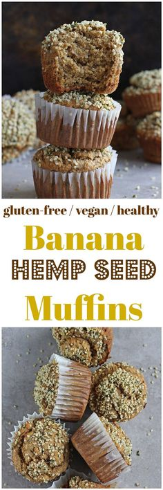 Banana Hemp Seed Muffins [Gluten-Free / Vegan] - Packed with plant-based protein, these Banana Hemp Seed Muffins are gluten-free, refined sugar free and vegan! http://thehempoilbenefits.com