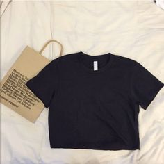 Fine jersey cropped t shirt Brand new never worn. American Apparel. Super cute, form fitted, and cotton. American Apparel Tops Crop Tops