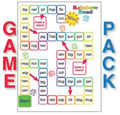 ESL Games-3-Letter Word Game Pack - This is the CVC game pack you've been looking for!  This PDF file includes ten different games to play with a set of 45 three-letter (CVC) words. They include 4 in a Row, Bingo Ladders, two Rainbow Road board games, two Bumper Cars game boards, two Crash game boards, three versions of Easy Checkers, four versions of Easy Snakes  Ladders, four Match game boards, Bingo with twelve playing cards, and twelve Tic-Tac-Toe game boards.