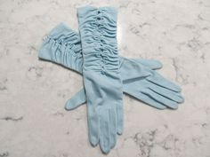"VINTAGE 1950's Pale Blue Nylon Ruched Gloves-Elbow Length-12"" Long--Size 6 1/2 to 7--Glove Auction #1002 by PrimaMona on Etsy"