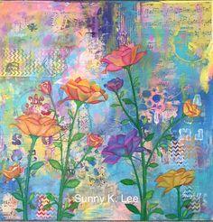 Flower Garden  Original Painting size 24  24  1.5 by artsymom24