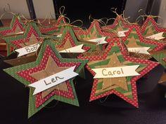 Christmas Place setting name tags using Stampin Up Stars Framelits, Star name tags, Christmas name tags