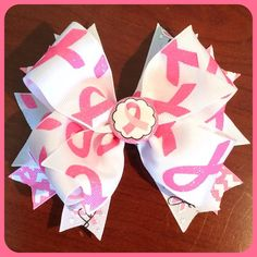 Breast Cancer Awareness Hair Bow  5 Handmade by ItsEspecially4U