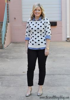 5961f2294c6c82 Casual Half Up Hair Tutorial (+ polka dots!) Polka Dot SweaterPolka ...