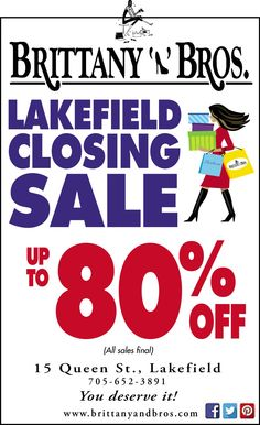 Dec 19 2014 Hurry into Brittany N Bros Lakefield boutique for great deals during our closing sale of this location only! All Sale, Great Deals, Brittany, Closer, Events, Boutique, Boutiques, Bretagne