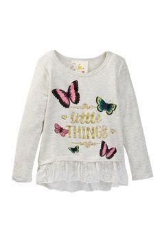 Long Sleeve Hi-Lo Lace Top (Little Girls)