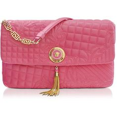 Versace Pink Quilted Leather Shoulder Bag ($1,795) ❤ liked on Polyvore