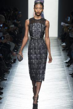 Bottega Veneta Fall 2016 - sleeveless with black patent squares & floral check print with a belt around the waist - Ready-to-Wear Fashion...x