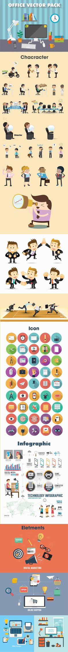 Office vectors pack, character, icon, shape, infographic, template, office, vector, pack, set, flat, icon, Creatily - Creative Marketplaces