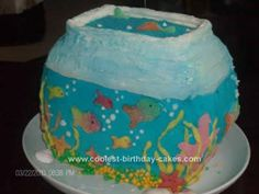 Homemade Fishbowl Birthday Cake Idea: I made this Fishbowl Birthday Cake Idea by making two round cakes. I put a layer of buttercream icing and stacked them. Put it in the fridge to set/firm.