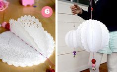 """Paper doily """"pom-poms"""" all you need is small doilies, yarn, needle and beads for decoration. Doilies Crafts, Paper Doilies, Paper Lace, Fabric Paper, Diy Projects To Try, Craft Projects, Craft Ideas, Papier Diy, Diy Party"""