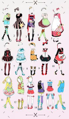 Outfit batch 1 OPEN by Toki-Doki-Adoptables Clothes Draw, Manga Clothes, Drawing Anime Clothes, Dress Drawing, Fashion Design Drawings, Fashion Sketches, Pastell Goth Outfits, Arte Copic, Arte Fashion